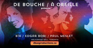 Edgar Bori à Toronto - De bouche à oreille @ Heliconian Hall